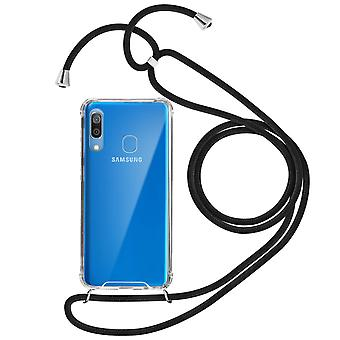 Braided Nylon Lanyard Phone Case for Samsung Galaxy A30 - Forcell, Black