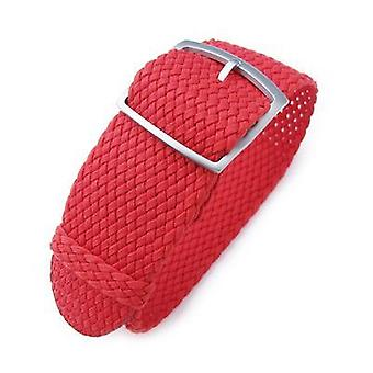 Strapcode fabric watch strap 20, 22, 24mm miltat perlon watch strap, red, sandblasted ladder lock slider buckle