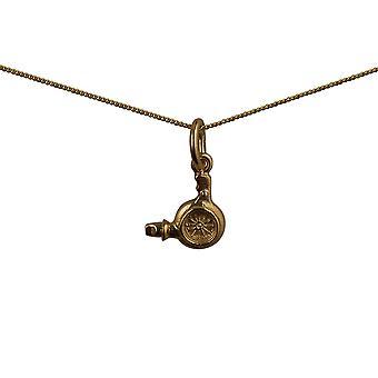 9ct goud 10x10mm kappers haardroger hanger met een curb Chain 20 inch