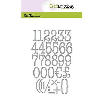CraftEmotions Die - schrijfmachine nummers Kaart 10,5x14,8cm (04-20)