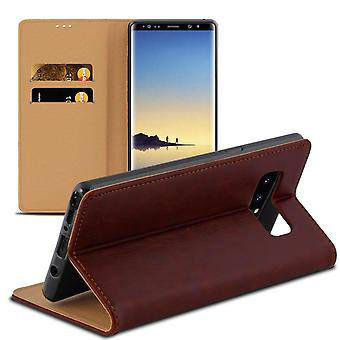 Portefeuille pour Samsung Galaxy Note 8 Card Compartment Magnetic Lock Cuir Patent Leather Microfiber Brown