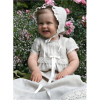 Christening Gown With Bonnet In Linen. Grace Of Sweden, Short Sleeve