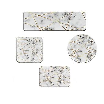 4pcs Diatomaceous earth white non-slip moisture-proof coaster