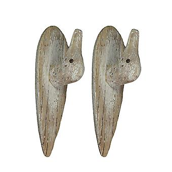 Set of 2 Primitive Style Carved Wood Duck Head Wall Hooks Whitewashed Finish