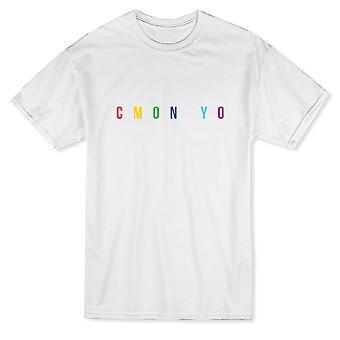 Приходите на Yo цветной графический дизайн Мужская футболка