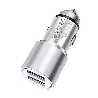 Realme 5s Adattatore proiettile per auto in alluminio a doppia porta in argento (3.1AMP/24W)