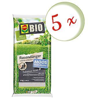Sparset: 5 x COMPO BIO gräsmatta gödselmedel mossa-nej tack!, 6 kg