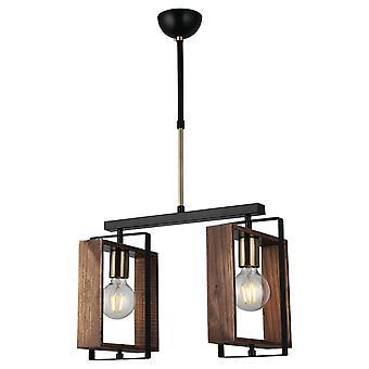 Lámpara de suspensión Karo Color Oro, Negro, Metal Madera, Madera, L46xP22xA86 cm