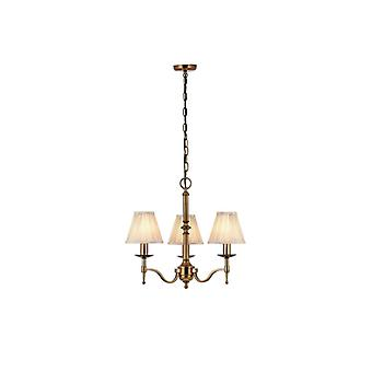 Hanging Lamp 3 Stanford Bulbs, Antique Brass, Beige Lampshades