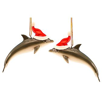 Dolphin with Santa Hat Christmas Holiday Ornaments Set of 2