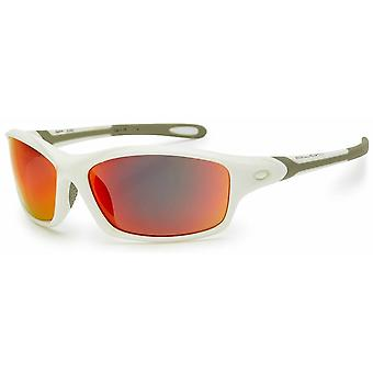 Bloc Eyewear Daytona Shiny White Sunglasses (Red Mirror Lens)
