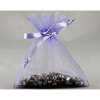 12 Small Lilac Organza Favour Gift Bags - 10cm x 12.5cm
