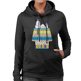 Erdnüsse Snoopy liegend auf bunten Kennel Frauen's Kapuzen Sweatshirt