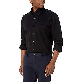 ボタンダウンメン&アポス;sクラシックフィットスピーマコットンストレッチニットドレスシャツ、ブラック.