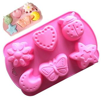 Cute Design Cat Feet Flower Moon Silicone Mold - Cake Chocolate Handmade Soap
