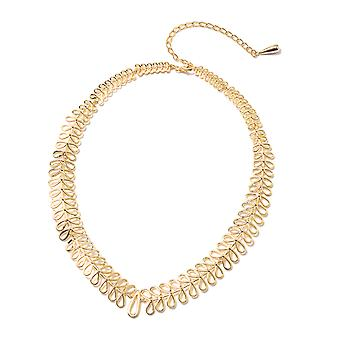 Yellow Gold Plated Sterling Silver Collar Necklace for Women Size 20""