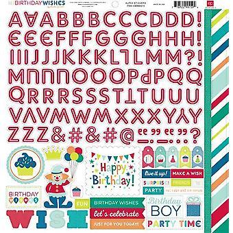 صدى بارك عيد ميلاد رغبات بوي 12x12 بوصة ملصقات ألفا