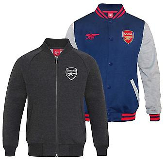 Arsenal FC Official Football Gift Mens Retro Varsity Baseball Jacket Navy