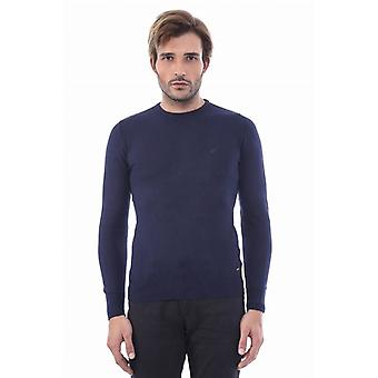 Circle collar navy blue sweater