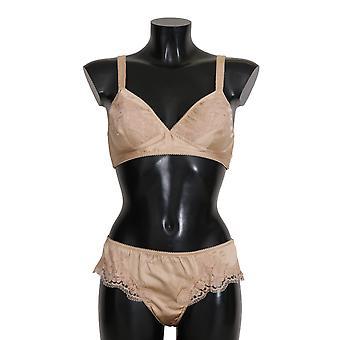 Dolce & Gabbana béžová Hodvábna kvetinová čipka Stretch spodná bielizeň--BIK2699376
