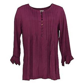 Laurie Felt Women's Top Knit Ruffle Sleeve Henley Burgundy Red A309502