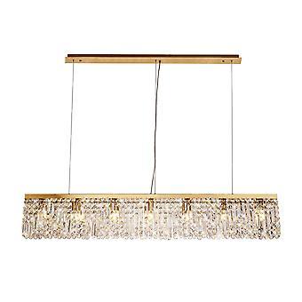 Iluminación Luminosa - Lámpara colgante de techo rectangular de 138x9cm, 7 luz E14, oro, cristal
