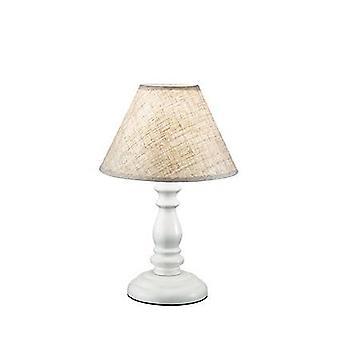 1 Licht houten tafellamp wit met beige schaduw, E14