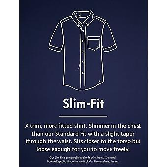 Goodthreads Men's Slim-Fit Short-Sleeve Solid Oxford Shirt with Pocket, Indigo, Large