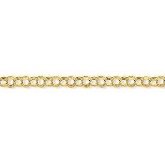 14 k amarillo oro hueco chispa corte langosta garra cierre Lite 7mm Triple enlace encanto - garra de la langosta - la longitud de pulsera: 7.2