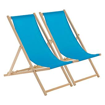 Traditional Adjustable Wooden Beach Garden Deck Chair - Light Blue - Pack of 2