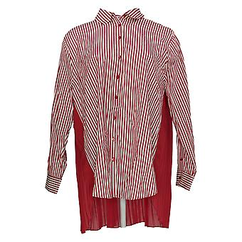 Laurie Felt Women's Top Long Sleeve Pleated Back Red A375433