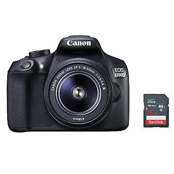 CANON EOS 1300D KIT EF-S 18-55mm F3.5-5.6 IS III + 16 Go carte SD