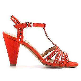 Red Lalla Sandal With Studs and Medium Heel