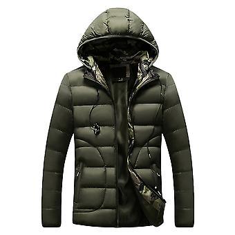 Allthemen Men's Hooded Zipper Jacket Solid Cotton-padded Casual Warm 4 Colors Winter