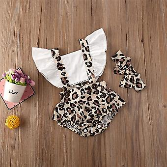 Newborn Baby Clothes Leopard Print Backless Ruffle Square Collar Bodysuit Bow