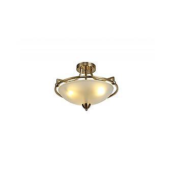 Ava Semi-flush Tak, 3 Ljus E27, Antik Mässing/frostat Glas