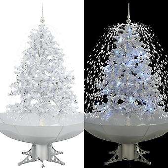 Snowing Christmas tree with umbrella foot White 140 cm