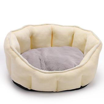 Pet Bed Winter Thickening Warmth Plush Nest Pad Cat Litter Kennel Soft Fluffy Round House