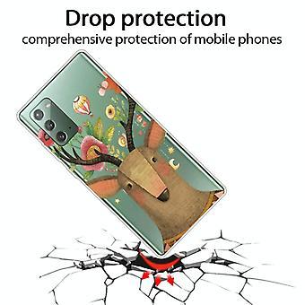 עבור Samsung Galaxy Note20 עמיד לזעזועים צבוע שקוף TPU מגן מקרה (צבי פרח)