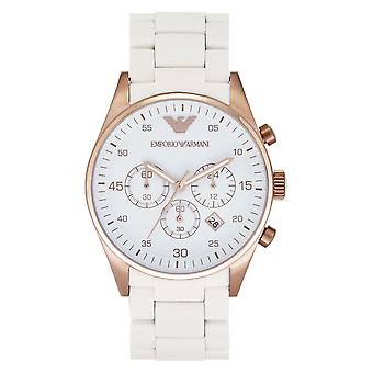 Armani White en Gold Mens Chronograph Horloge Ar5919