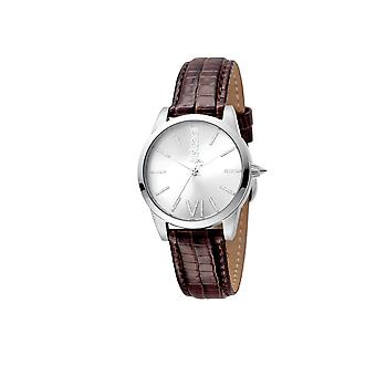 Just Cavalli JC1L010L0015 Womens dark brown leather strap watch with silver dial