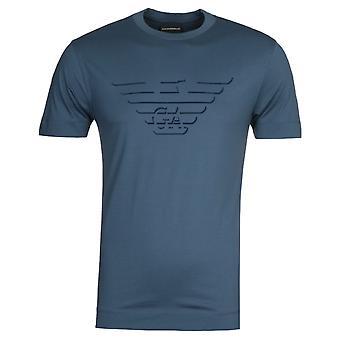 Emporio Armani Velvet Eagle Logo Blue T-Shirt