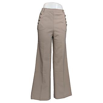 Lisa Rinna Colección Mujer's Pantalones de cintura alta pierna ancha beige A308837