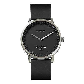 Leff Amsterdam LT75713 T40 Steel/Black Case Black Leather Strap