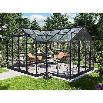 Kiosque de jardin en verre 16,8m², 4,45x4,45x 2,52m avec socle, Noir