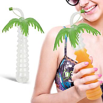 """PMS 11"""" Tropical Palm Tree Drinking Cup With Lid & Flexi Straw"""