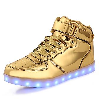 Niños niñas LED iluminan los zapatos por USB cargando oro