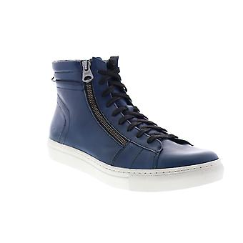 Andrew Marc Remsen  Mens Blue Leather Lifestyle Sneakers Shoes