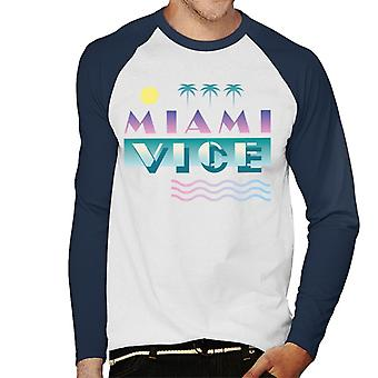 Miami Vice Logo With Sun And Palm Trees Men's Baseball Long Sleeved T-Shirt