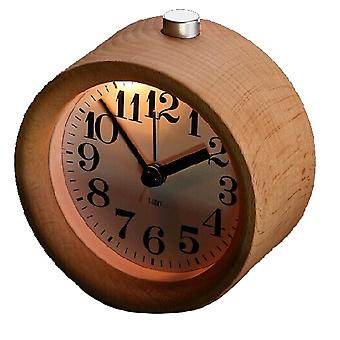 Wood Väckarklocka - Klassisk liten runda tyst med snooze - Beech Wood väckarklocka med nattlampa